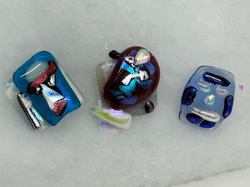 Blue Glass Tiki Heads Rings