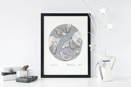 A4 Pigeons Print