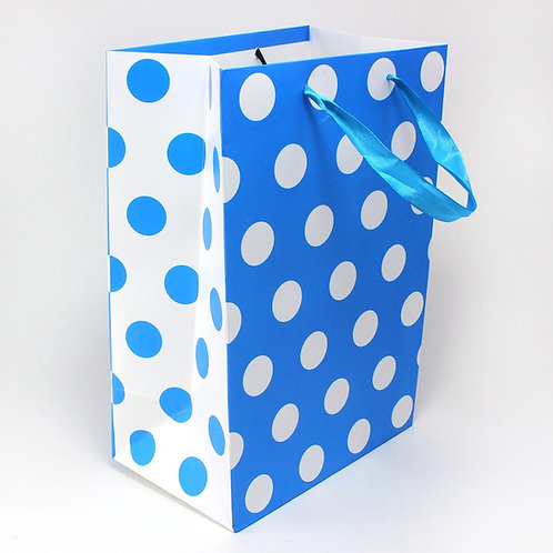 Hayath Hand Made Blue Dotted-Ribbon handle bag HPB1035 (W7xH9xG2.5 inch) 180GSM