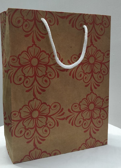 Hayath Kraft Flower design bag HPB1027 (W7xH9xG3 inch) 150GSM