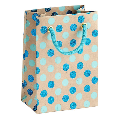 Hayath Hand Made Dotted Blue handle bag HPB1034 (W7xH9xG3inch) 180GSM