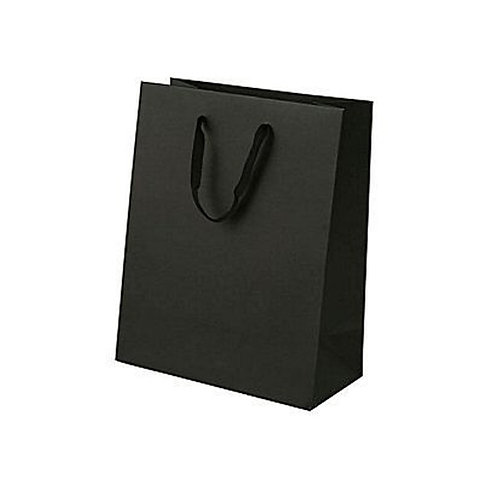 Hayath Hand Made Black Ribbon handle bag HPB1033 (W8xH10xG2.5 inch) 180GSM
