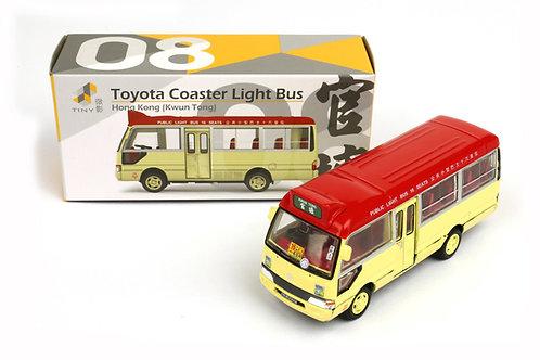 Tiny Hong Kong City 08 Die-cast - Toyota Coaster Red Light Bus (Kwun Tong) 紅色小巴