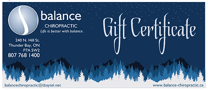 Gift Certificate for Balance Chiropractic Thunder Bay, Dr Paul Rooney, DC.  Chiropractic Care, Massage Therapy