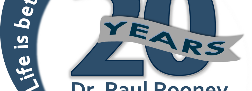 LOGO_20 YEAR DR. ROONEY Blue and Grey Ba