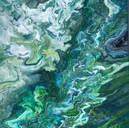 The Green Ravine  acrylic 12 x 19 inch p