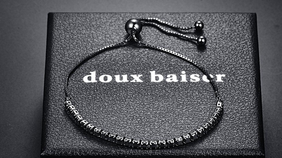 925 Silver Bracelet - Black Tourmaline Gemstones - Tennis Style Slider Bracelet