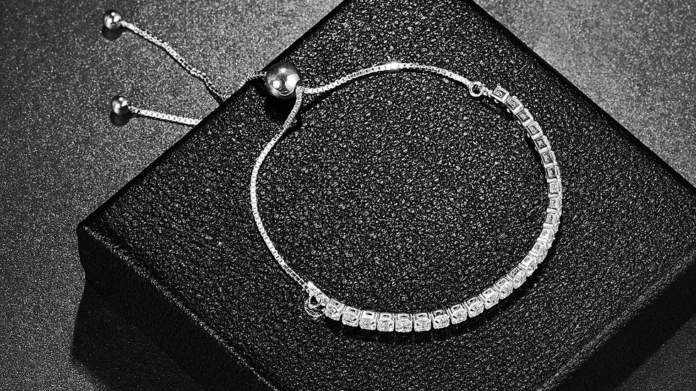 925 Silver Bracelet - Cubic Zirconia Gemstones - Tennis Style Slider Bracelet