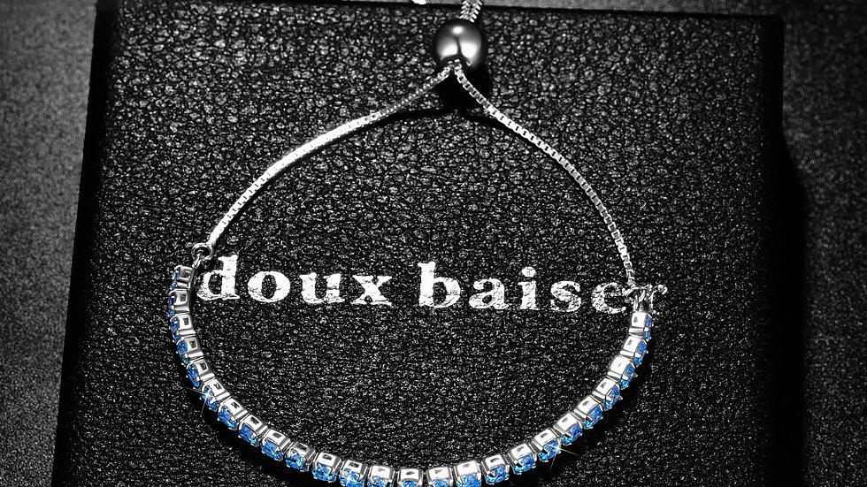 925 Silver Bracelet - Aquamarine Gemstones - Tennis Style Slider Bracelet