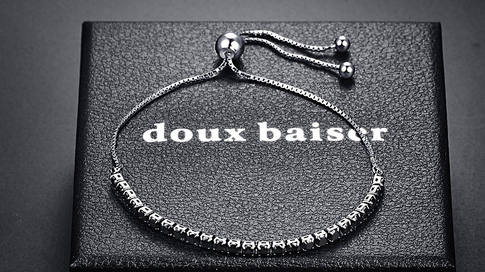 925 Silver Bracelet - Tourmaline Gemstones - Tennis Style Slider Bracelet