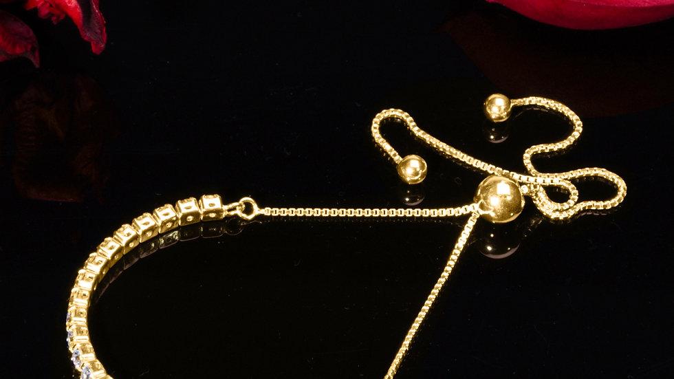 925 Silver Bracelet - Cubic Zirconia Gemstones - Gold Plated Silver