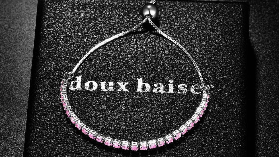 925 Silver Bracelet - Tennis Style Slider - Pink Sapphire Gemstones