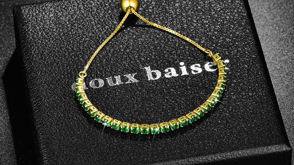 925 Silver Bracelet - Gold Emerald Gemstones - Tennis Style Slider Bracelet