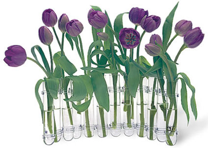 Flex Vase with Purple Tulips