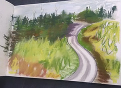 Afan Valley sketchbook page by Gayle Rogers