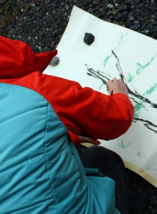 Gayle Rogers drawing on ground