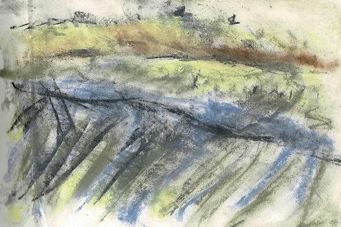 Autumn Rain Over Maerdy Original Plein Air Drawing