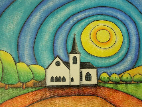 Norwegian Church A3 Art Print