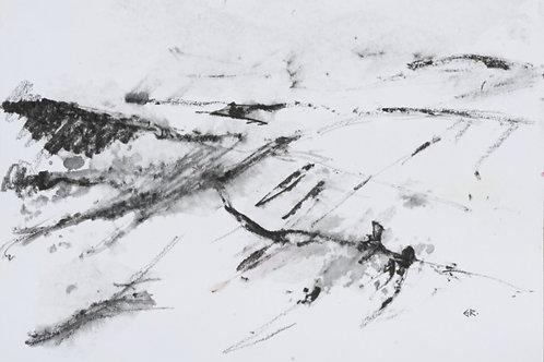 Rain Over the Bwlch Original Plein Air Drawing