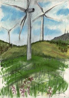 Three turbines pastel sketchbook page by Gayle Rogers
