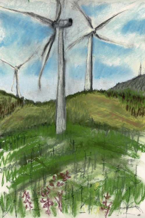 Three Turbines Original Plein Air Drawing