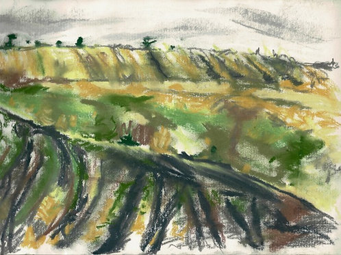 Summer Rain Over Maerdy, Original Plein Air Drawing