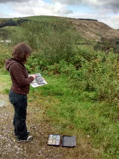 Gayle Rogers drawing in the Afan Valley