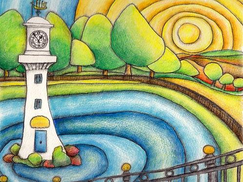 Round Roath Park A3 Art Print