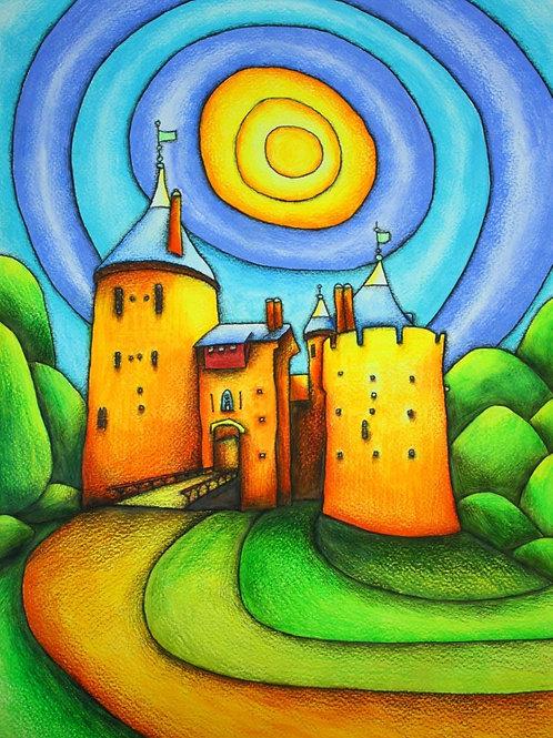Castle Coch Sun A4 Art Print