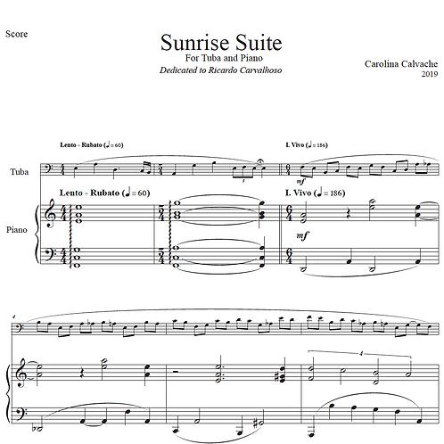 SUNRISE SUITE FOR TUBA AND PIANO- PDF SCORE & PARTS