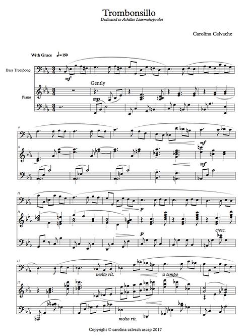 """TROMBONSILLO"" PDF Score for Bass Trombone."