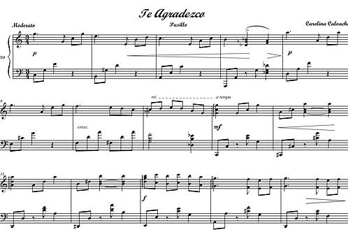 TE AGRADEZCO - Piano Solo- (Sheet Music-PDF)