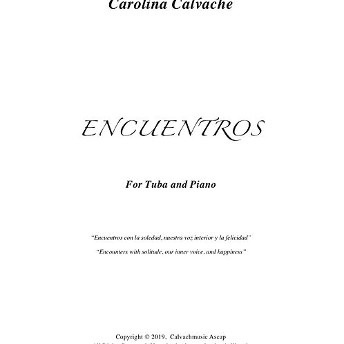 """Encuentros"" PDF Score for Tuba & Piano"
