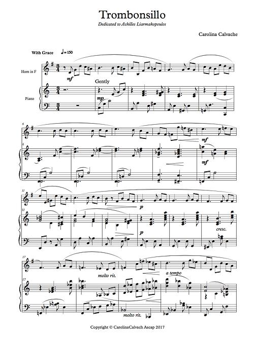"""""""TROMBONSILLO"""" PDF score for French Horn."""