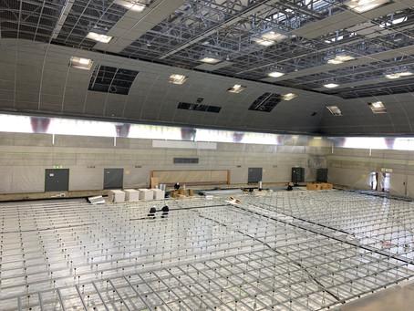 田辺中央体育館改修工事の視察