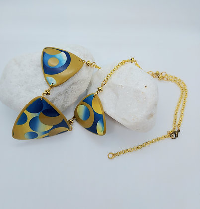 Yellow & Blue Patchwork Shield Necklace