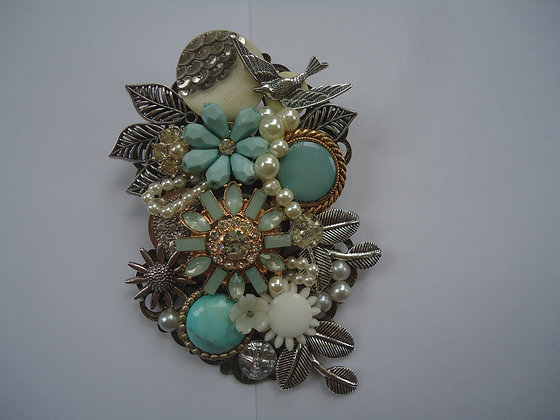 Floral turquoise and cream collage Brooch
