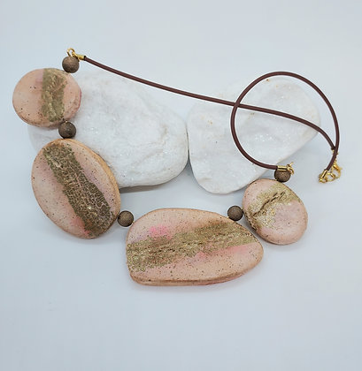 Faux stone necklace with inset gold leaf