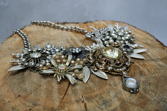 Statement collage necklace with crystals