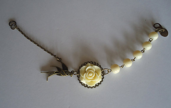 Cream rose beaded bracelet wedding bridesmaid