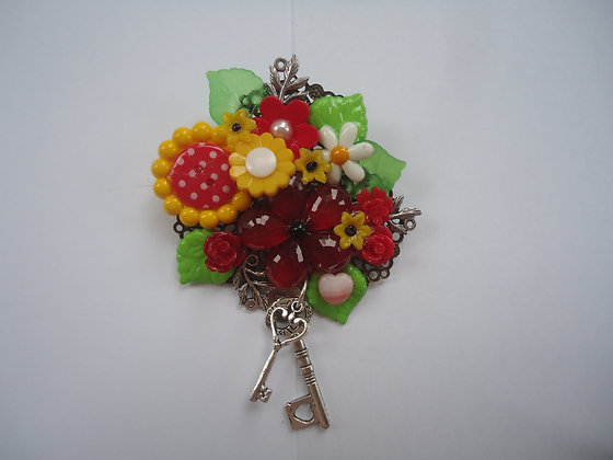 Bright floral collage Brooch