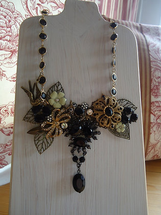 Stunning Black and Gold tone Collage Necklace
