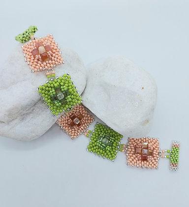 Green & Peach Squares bracelet