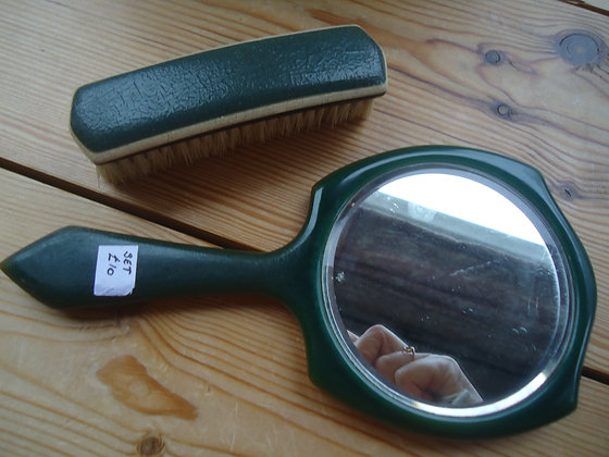 Vintage green mirror and clothes brush set