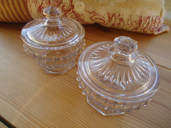 2 Glass Dressing Table Jars
