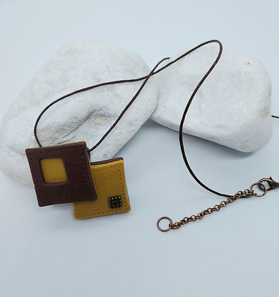 Faux Leather Interlinked Squares Necklace