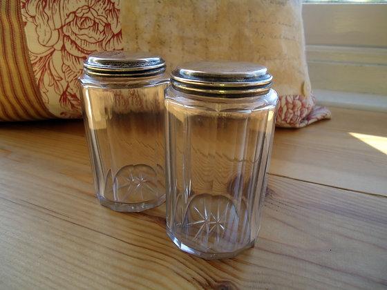 2 Silver Metal Perfume Jars