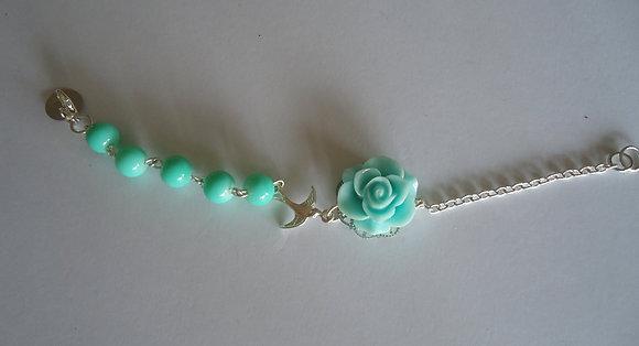 Turquoise rose beaded bracelet wedding bridesmaid