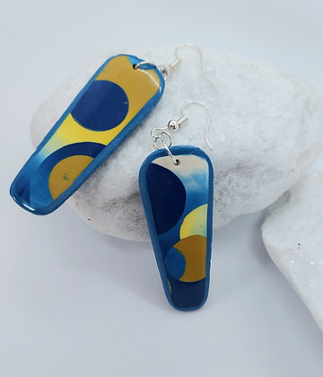 Yellow & Blue patchwork earrings
