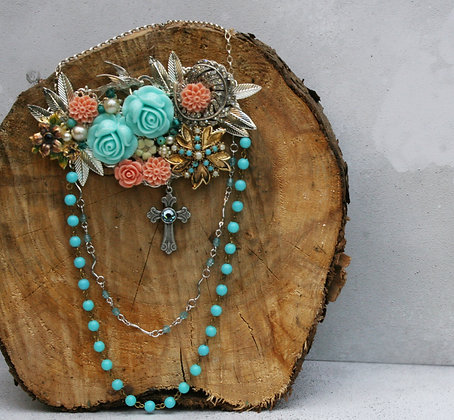 turquoise and peach collage statement necklace
